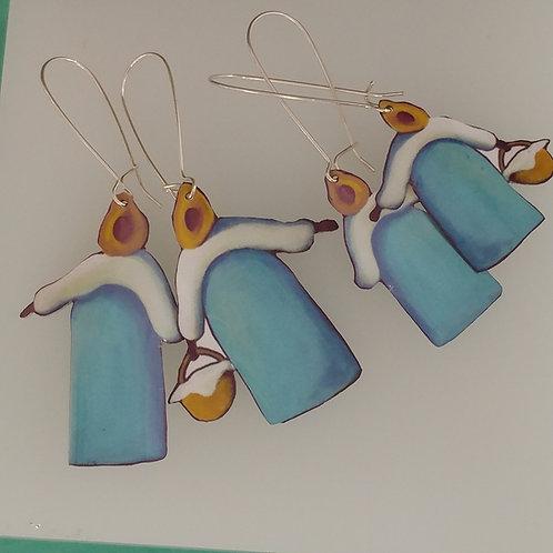 Blue Skirt Momma with Basket Earrings