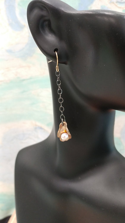 Half Shell Earrings with black chain and finished with a gold plated hook
