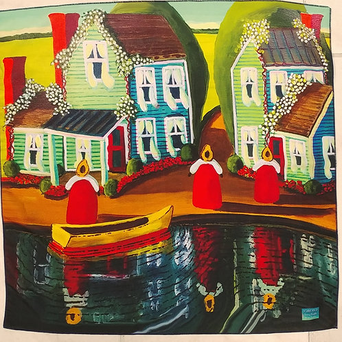 Scarf with Houses and Boats