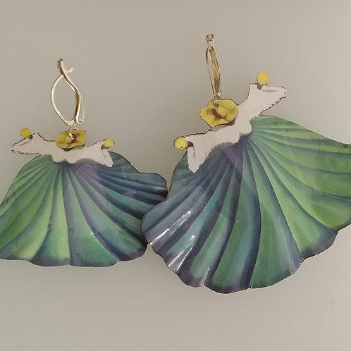 Blue and Green Skirt Momma Earrings