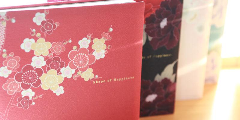 和婚や成人振袖向けの着物地表紙のフォトアルバム