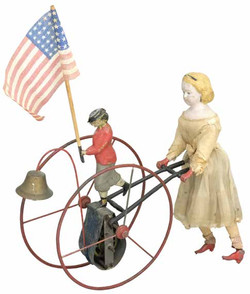 Mechanical Patriotic Hoop Toy Pushed by
