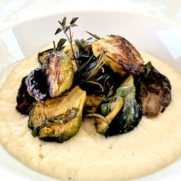 Roasted Brussles Sprouts, Chickpea Puree