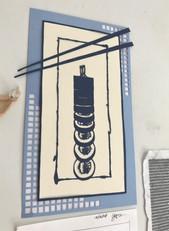 Sushi papercut vertical view
