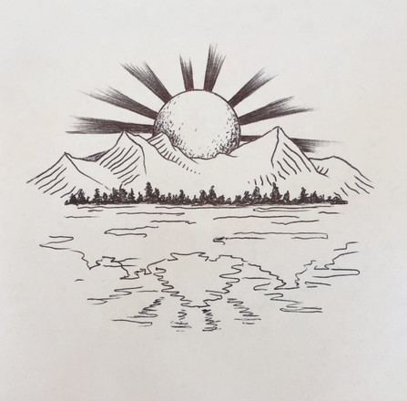 Second iteration sketch of the sun, mountains, and reflection design
