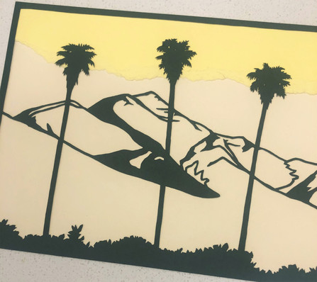 Detail of the left side: Ontario Peak and palms