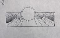 Sketch C - Sunbeams fall on dunes