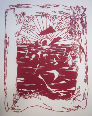 Love on the beach papercut