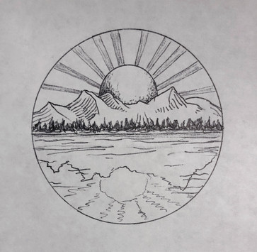 Sketch G - Sun, rays, and mountains reflected in water