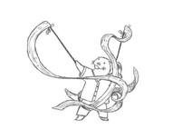 Sketch - kelp helps a sea otter to ribbon-dance
