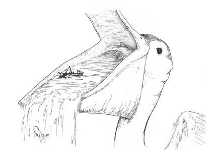 Sketch - the ocean in a pelican's bill