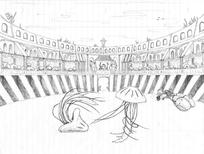 Sketch - jellyfish dance-off in an underwater coliseum