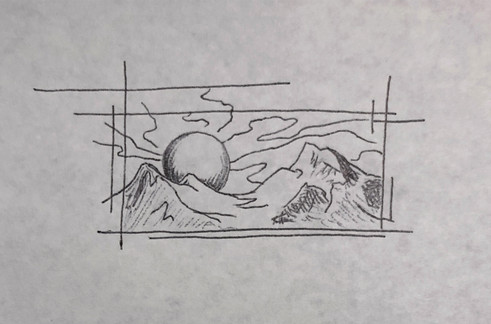 Sketch H - Sun and mountains inscribed in shattered rectangle