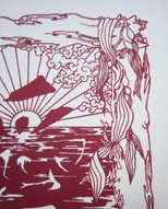 Love on the beach papercut - detail of seaweed, driftwood, and clouds