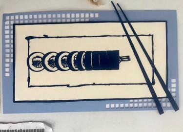 Sushi papercut, straight view