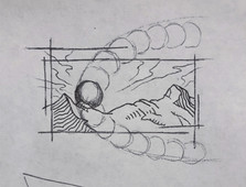 Sketch I - Multiple overlapping circles track the path of the sun's arc behind mountains