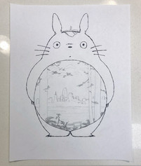 Starting sketch for the Totoro papercut