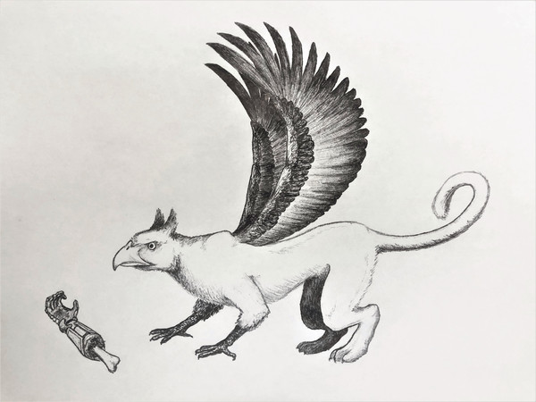 Sketch - a juvenile griffin wants to play fetch