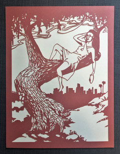 The finished, mounted papercut before framing