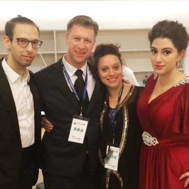 With directors Matthew Barclay and Johanna Puglisi and Baritone Justin Bays, Shanghai, July 2015