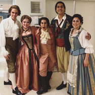 Backstage after Le nozze di Figaro at Florida Grand Opera with Baritone Jonathan Michie, Soprano Lyubov Petrova, Bass-Baritone Calvin Griffin, and Soprano Elena Galvan, January 2019