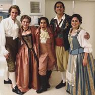 Backstage after Le nozze di Figaro at Florida Grand Opera with Baritone Jonathan Michie, Soprano Lyubov Petrova, Bass-Baritone Calvin Griffin, and Soprano Elena Galvan, January 2019