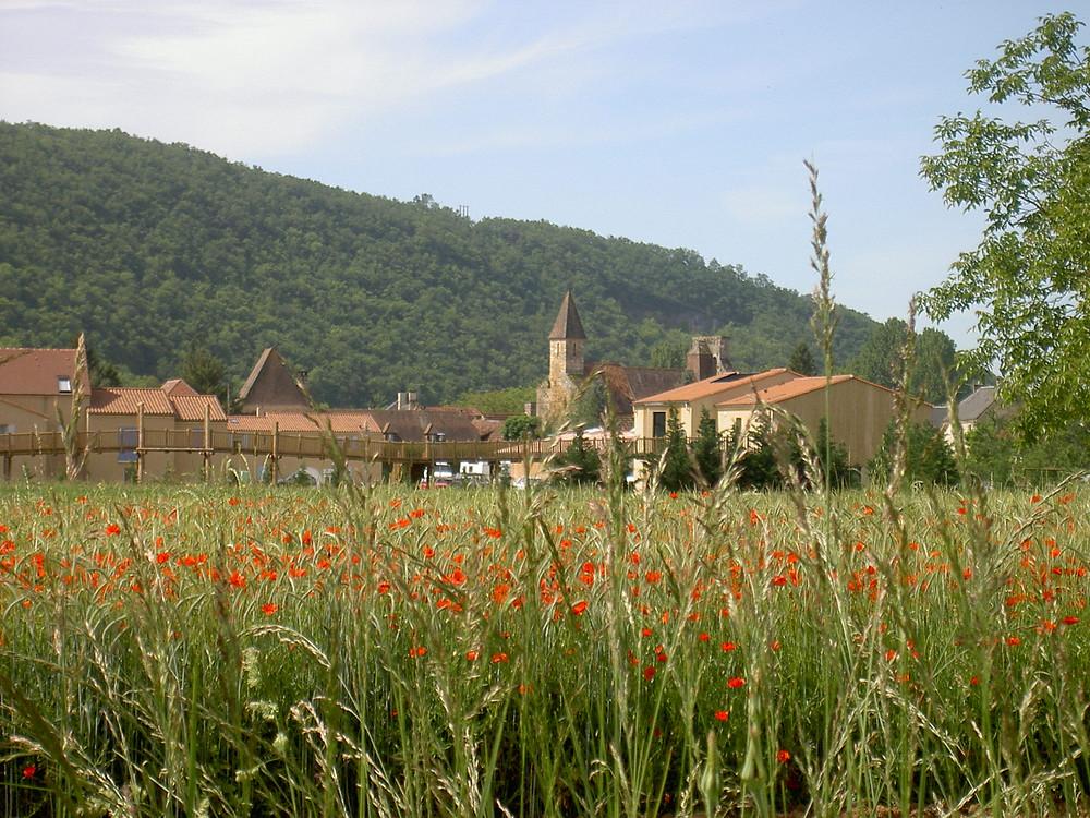 Le bourg d'Aubas dans la vallée de la Vézère