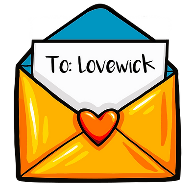 Large gold envelope and letter addressed to Lovewick