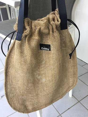 CUBBY Large Reusable Hessian Drawstring Produce Bag with Handles