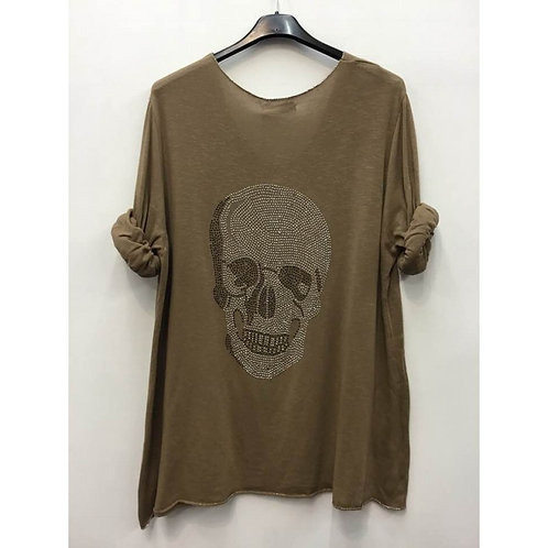 PULL LEGER STRASS DOS TETE DE MORT TAUPE
