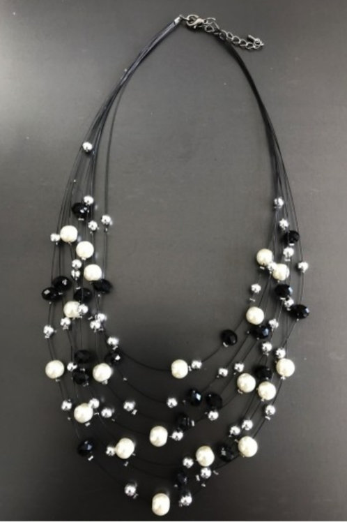 COLLIER MULTIRANGS PERLES NOIR BLANC