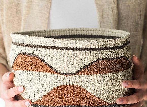 Canasto hilado a mano técnica cestería