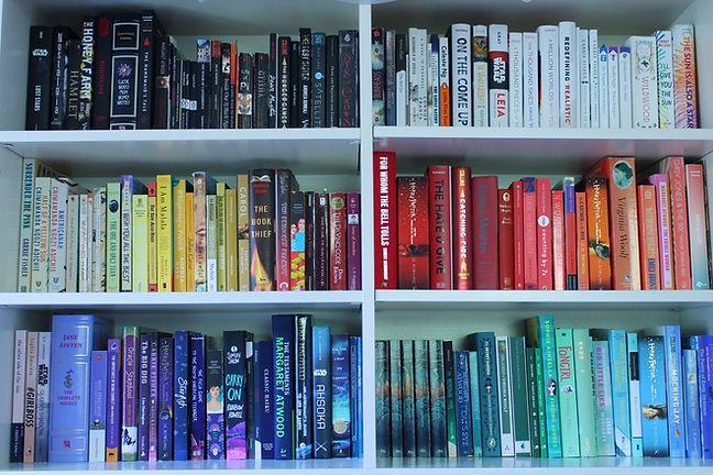 Colour coordinated book shelf