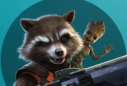 Work_Rocket Raccoon & Babe Groof By YinYuming