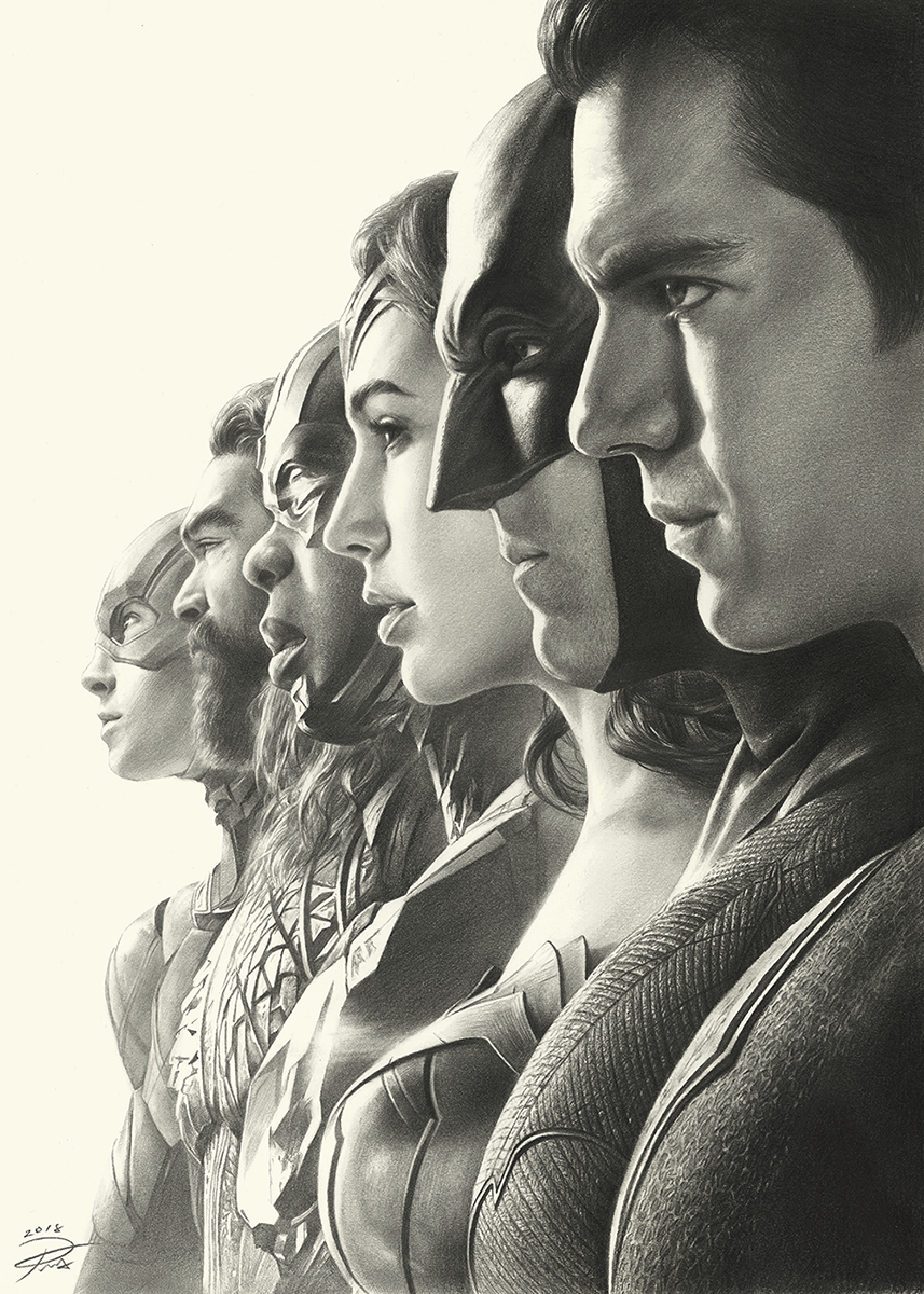 Justice League Pencil Art by YinYuming.p