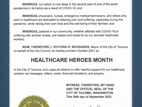 City of Tacoma Proclaims Healthcare Heroes Month