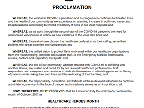 City of Lakewood Proclaims October Healthcare Heroes Month