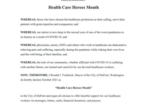 City of DuPont Proclaims Healthcare Heroes Month