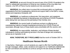 City of Gig Harbor Proclaims Healthcare Heroes Month