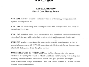 City of Sumner Proclaims Healthcare Heroes Month