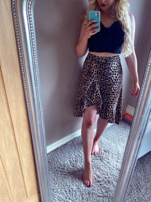 Leopard print wrap midi skirt