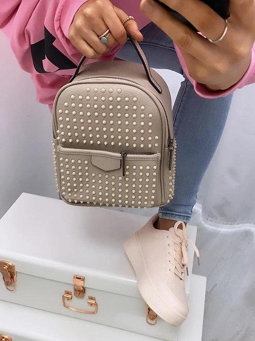 Beige studded backpack