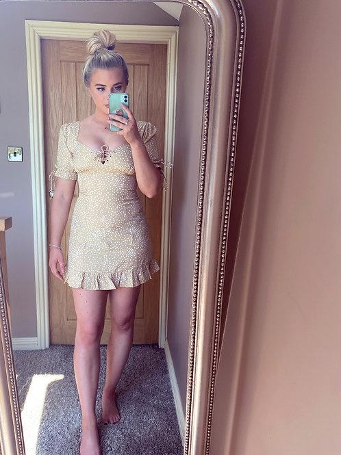 Beige Polka Dot Skater Dress