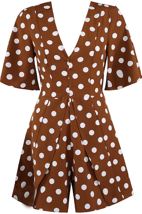 Brown polka dot playsuit