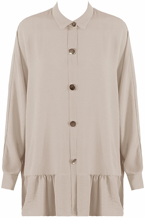 Beige shirt with gold buttons