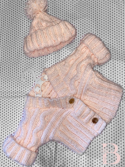 Light pink winter cardigan & bobble hat