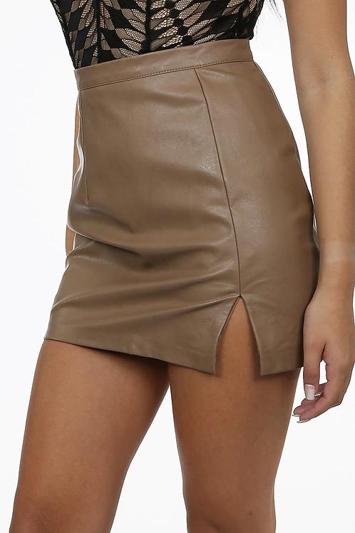 Leather split mini skirt