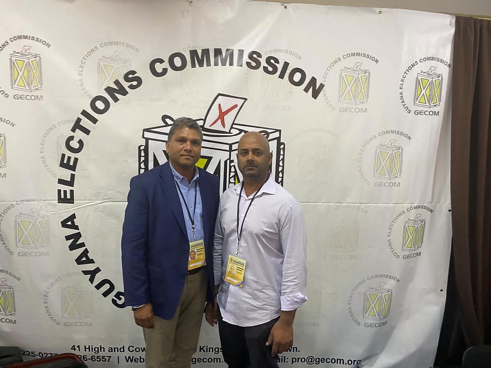 Long Islanders Andy Rambharose and Chief Samisar at Election HQ in Guyana