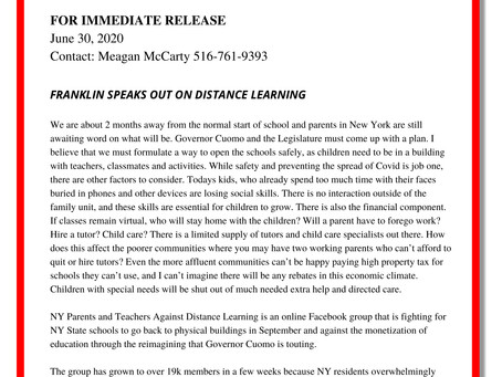 Dave Franklin Speaks Out on Distance Learning