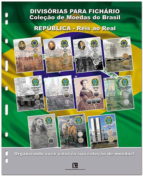 Divisórias para Fichário das Moedas do Brasil - 11 Planos Monetários